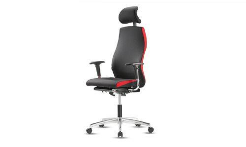 Nowoczesne krzesło biurowe czarne z czerwonymi dodatkami