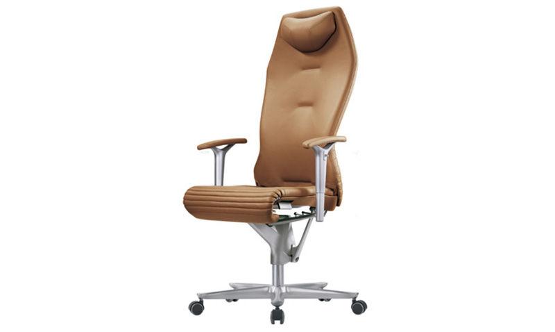 Nowoczesne krzesło gabinetowe skórzane brązowe